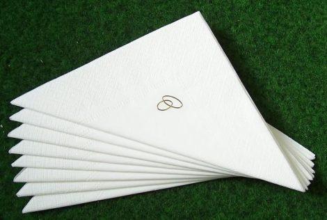 arany gyűrűs szalvéta , fehér (50 db/cs)