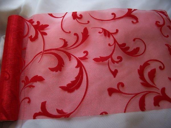 inda mintás piros organza (24 cm   5 m) - esküvő dekoráció 5b72f94f2b