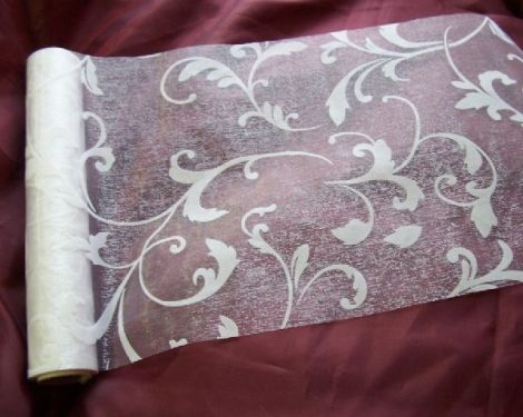fehér inda mintás organza (47 cm * 5 m)