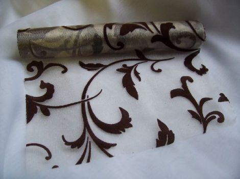 inda mintás krém alapon csoki organza (24 cm * 5 m)