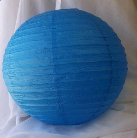 lampion gömb 25 cm-es szalaggal (kék)