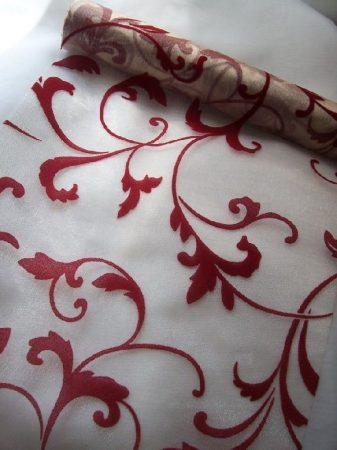 inda mintás krém-bordó organza (47 cm * 5 m)