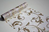 Inda mintás organza csillámos fehér alapon arany (24 cm * 5 m)