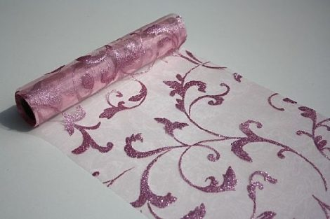 rózsaszín alapon csillámos inda mintás organza(47 cm * 5 m)