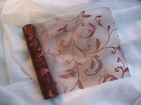 Inda mintás organza csillámos barna alapon barna (24 cm * 5 m)