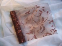 barna alapon barna csillámos inda mintás organza(47 cm * 5 m)