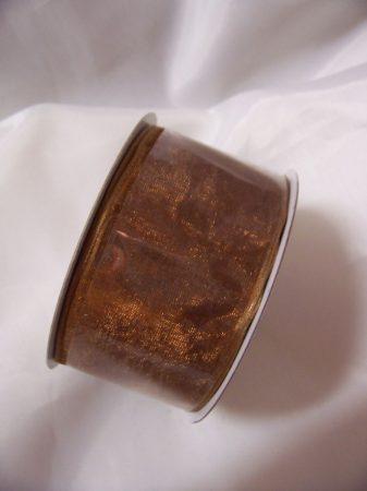 3,8 cm-es drótos szélű organza szalag (10 m) barna
