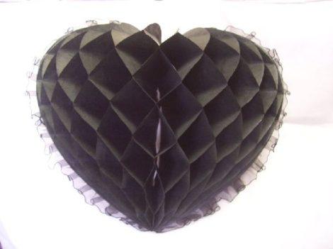 szív organza széllel,30 cm,fekete (64833)