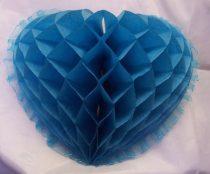 szív organza széllel,30 cm,türkiz (64843)