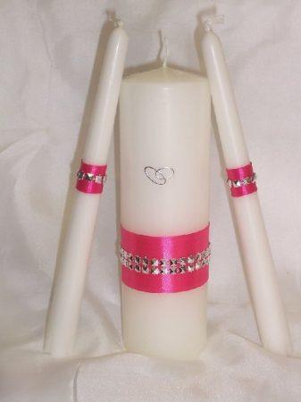 gyertyaszett különleges, pink (3 részes)