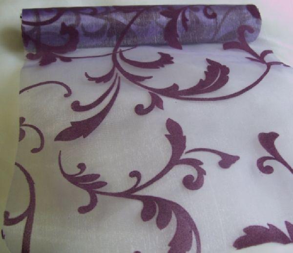 inda mintás lila-padlizsán organza (47 cm   5 m) - esküvő dekoráció ... b812eb7a0b