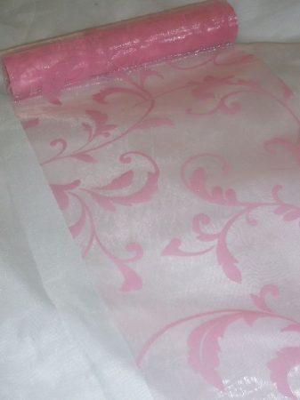 inda mintás rózsaszín alapon rózsaszín organza (47 cm * 5 m)