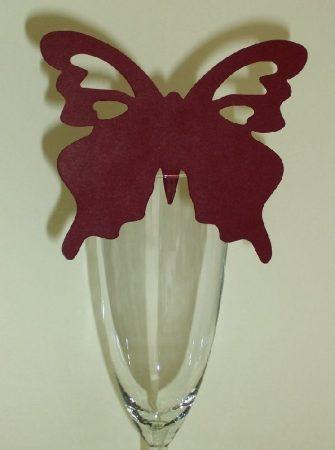 pillangó ültetőkártya bordó (10 db)