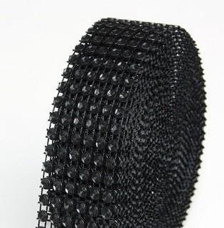 strasszos dekorszalag 3 cm *4,5 m - fekete