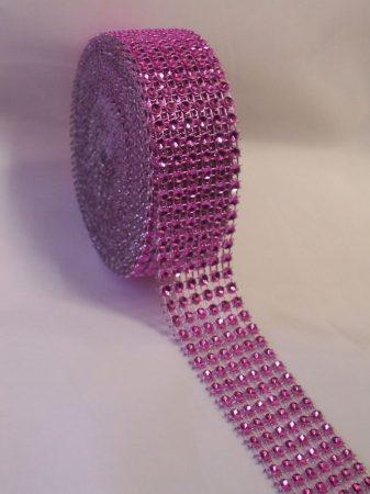 strasszos dekorszalag 3 cm *4,5 m - rózsaszín