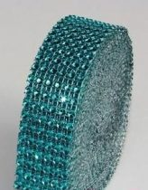 strasszos dekorszalag 3 cm *4,5 m - türkiz