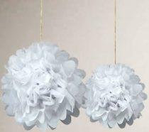papír gömb / pom-pom (25 cm átmérő )fehér