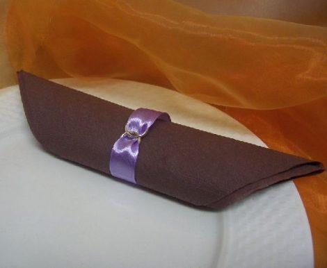 szatén szalvétagyűrű gyűrűpárral. lila 10db/cs