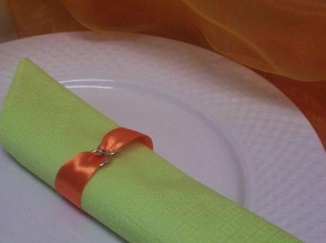 szatén szalvétagyűrű gyűrűpárral. narancs 10db/cs