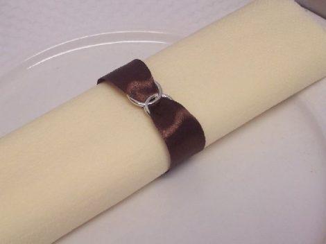 szatén szalvétagyűrű gyűrűpárral. barna 10db/cs