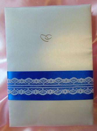 kék alapon csipkés selyem vendégkönyv ( A/5, sima, 50 lapos)