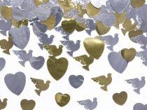 szív-galamb konfetti arany,ezüst (14 gr)