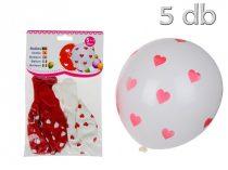 fehér lufi piros szívekkel (10 db)