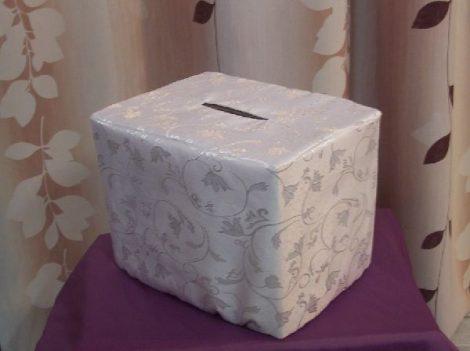 fehér, indás, selyem nászajándékgyűjtő doboz