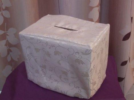 krém, indás, selyem nászajándékgyűjtő doboz