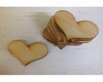 szív fából (5 cm), 10 db (1542)-vintage