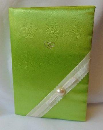 élénkzöld selyem vendégkönyv, (A/5, sima, 70 lapos)