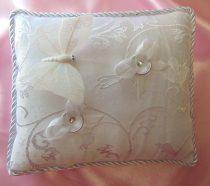 esküvői gyűrűpárna,fehér (33a)- 18*20 cm