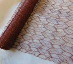 Csipke dekoanyag metál barna (48 cm x 5 yard) levélke mintás
