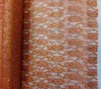 Csipke dekoanyag metál bronz(48 cm x 5 yard)