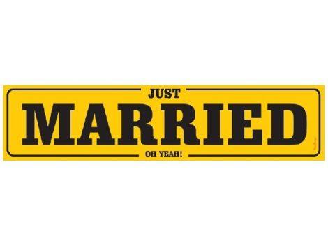 Esküvői rendszámtábla Just married (50x11 cm)