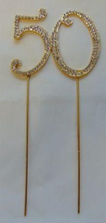 strasszos tortadísz 50. arany (8*18 cm)
