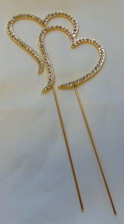 strasszos tortadísz szívpár arany (8*18 cm)