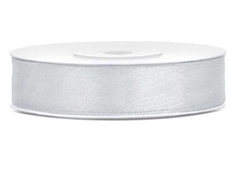 1,2 cm-s szatén szalag (25 m) világos ezüst (018)
