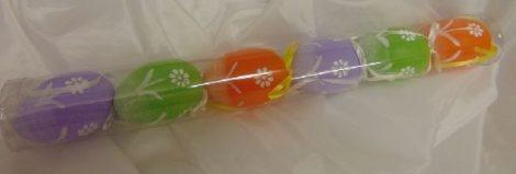 húsvéti tojás narancs-lila-zöld virágos, 6 cm (6 db)