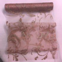 rózsakvarc csillámos inda mintás organza(24 cm * 5 m)