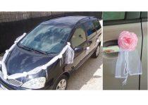 Autódekorációs szett (öntapadós)rózsaszín rózsákkal