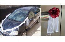 Autódekorációs szett (öntapadós)bordó rózsákkal