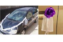 Esküvői autódekorációs szett (öntapadós), s.lila rózsákkal