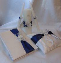 vendégkönyv selyem, tengerészkék díszítéssel , (A/5, sima, 70 lapos)