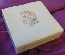 esküvői mintás, textilhatású szalvéta 40*40, 50 db
