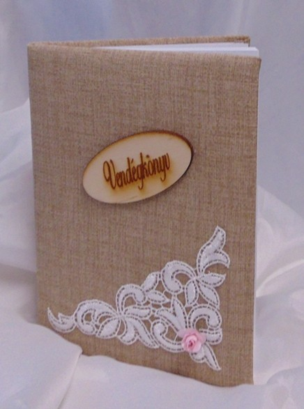 48b9e9e07a vintage vendégkönyv csipke dísszel (A/5, sima, 70 lapos) - esküvő ...