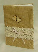 vintage vendégkönyv dupla szívvel (A/5, sima, 70 lapos)