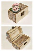 gyűrűtartó dobozka, virágos-(9*6*5 cm)