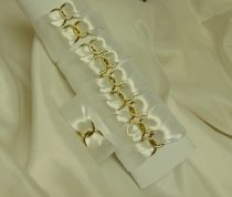 Szatén szalvétagyűrű gyűrűpárral, fehér (10 db)