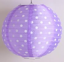 Pöttyös organza lampion 25 cm-s, lila